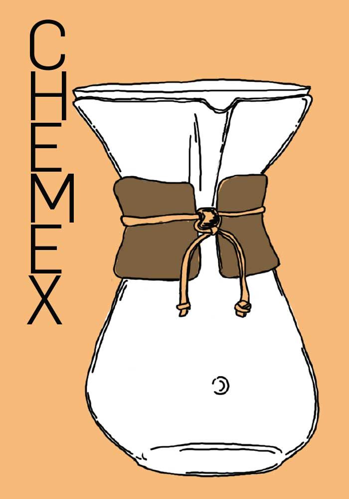 Chemex postcard front with hand drawn image