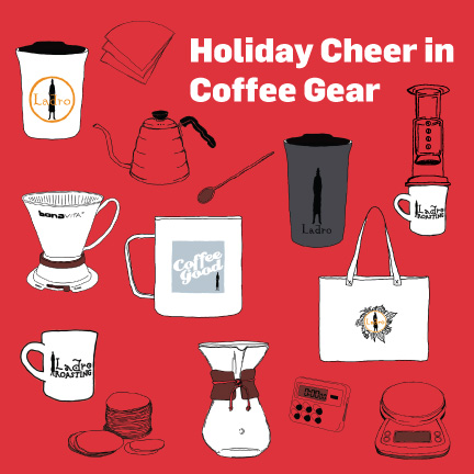 Holiday coffee gear ad example with multiple hand drawn images of various coffee tools