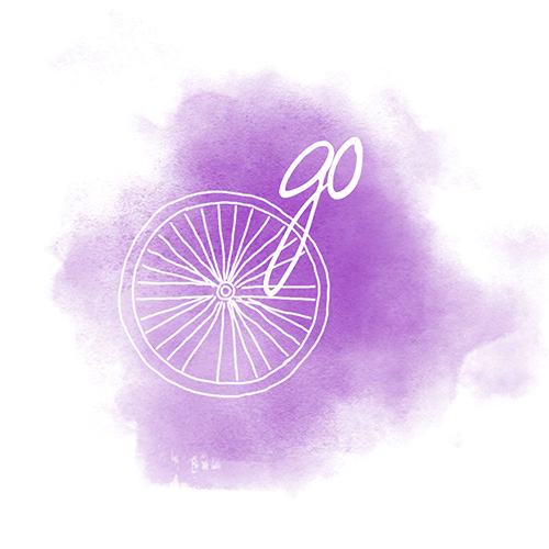 """Sketched art of bicycle wheel in white with white word """"go"""" and purple watercolor background"""