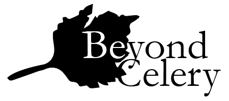 Logo: black celery leaf with Be in white and black letters spelling out the rest of Beyond Celery